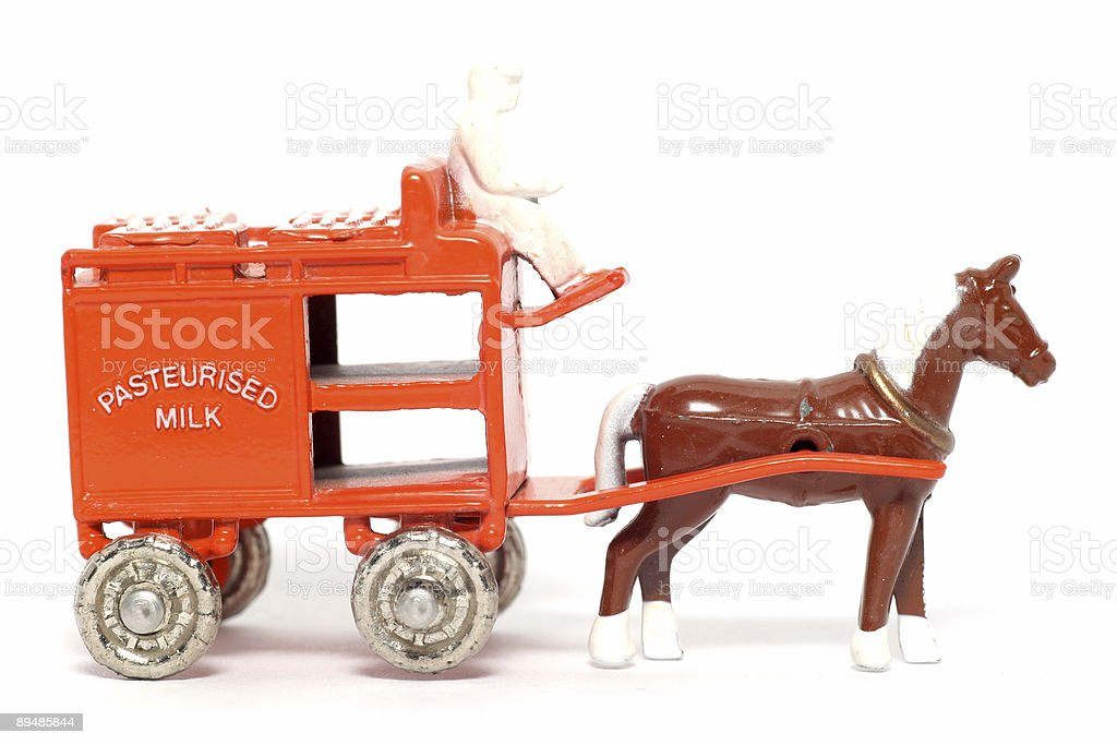 Old toy car Horse Drawn Milk Float stock photo