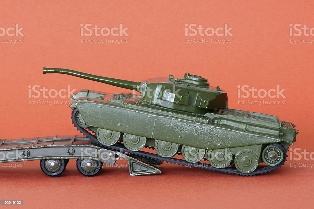 Old toy tank (2) stock photo