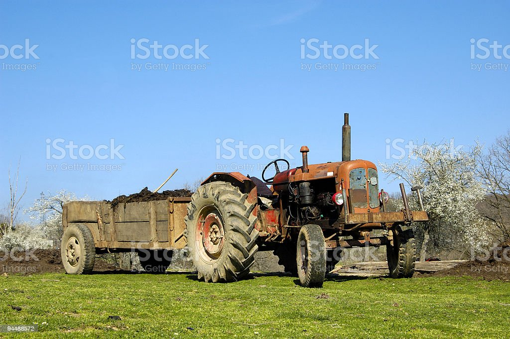 old tractor and tugboat royalty-free stock photo
