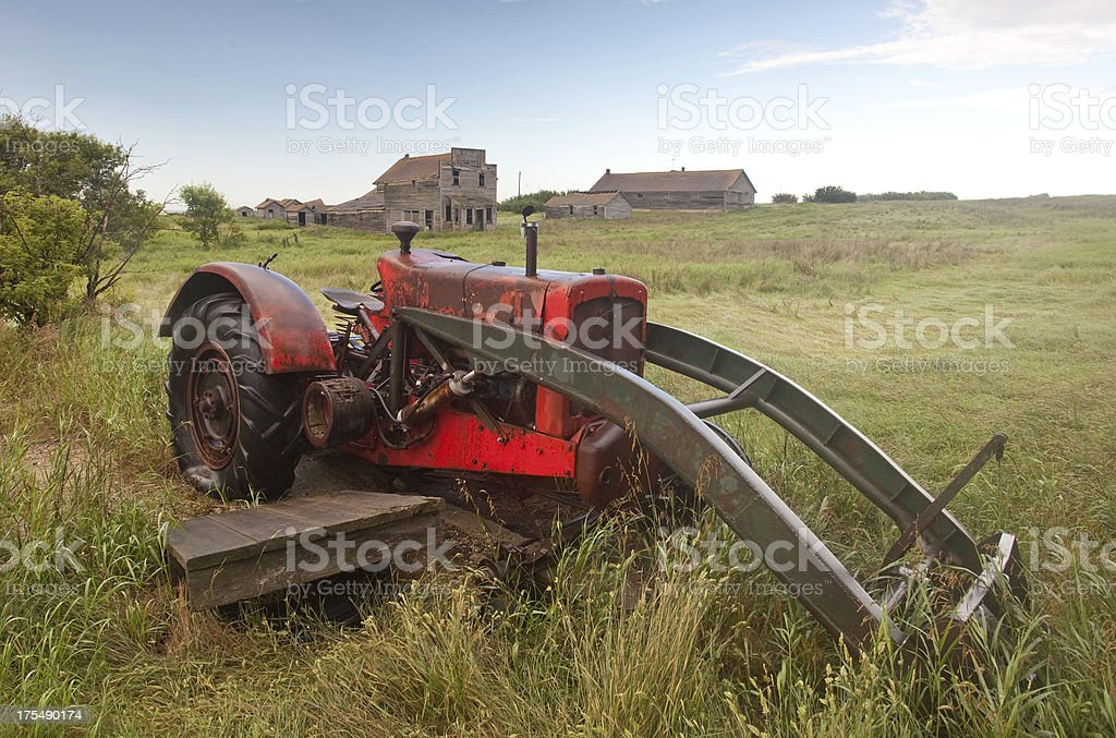 Old Tractor in a Ghost Town royalty-free stock photo