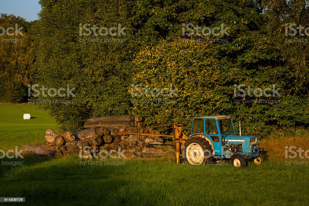 Old tractor in sunset light stock photo