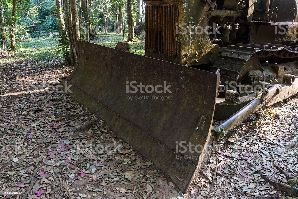 Old tractor is broken stock photo