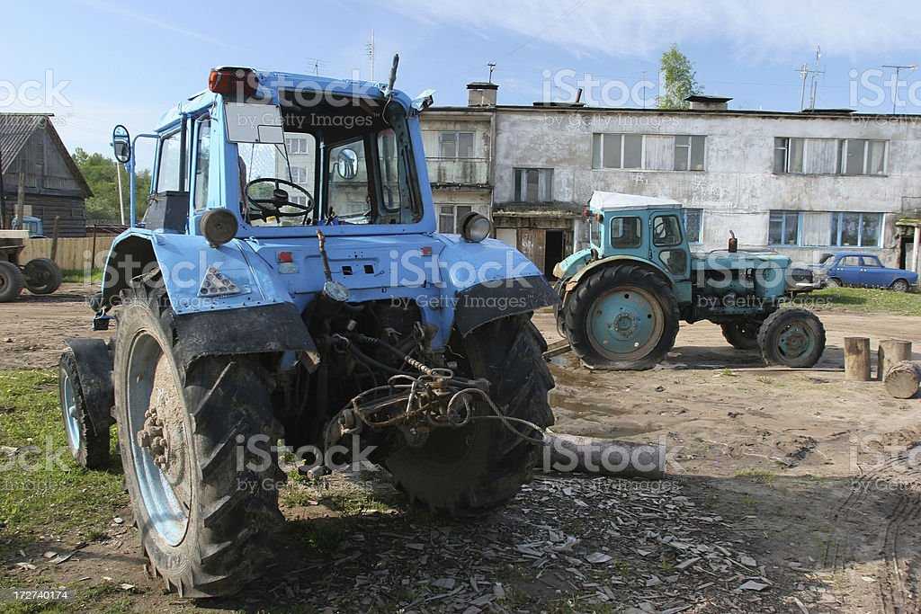 Old Tractors In Russian Village royalty-free stock photo
