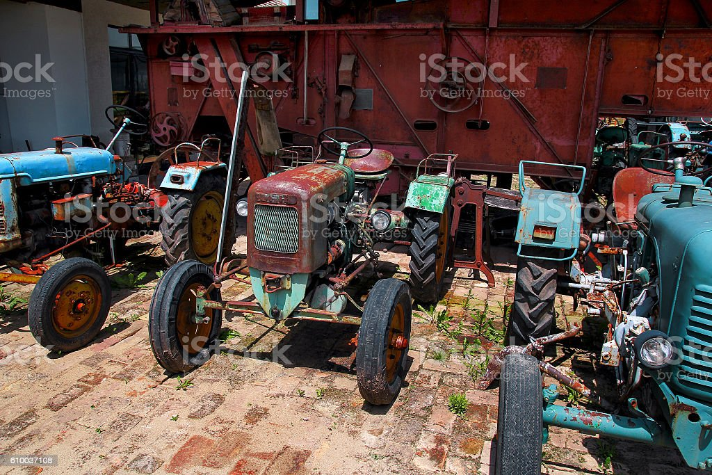 Old tractors stock photo