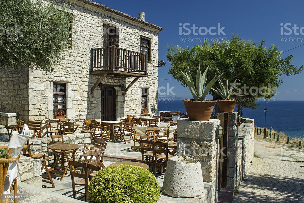 Old traditional building in Afitos, Greece stock photo