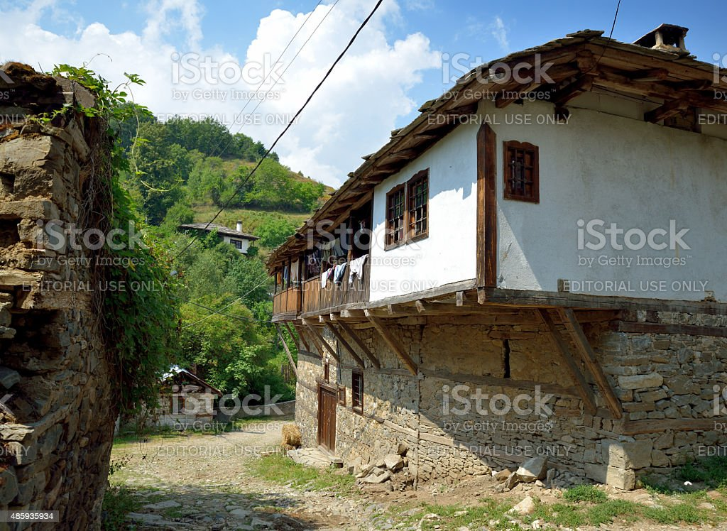 Old traditional Bulgarian House in Dolen village stock photo