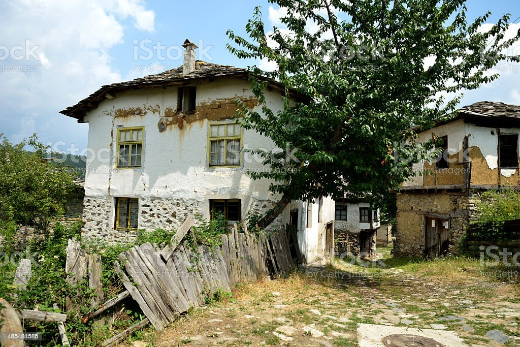 Old traditional Bulgarian Houses in Dolen village, stock photo