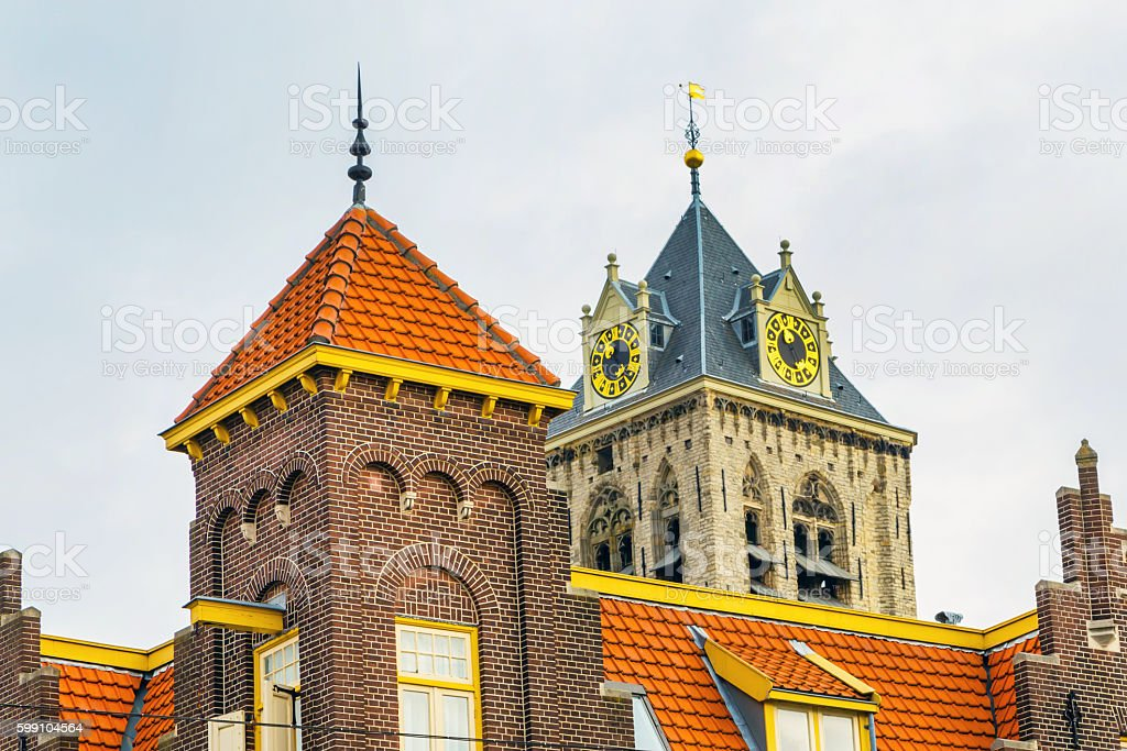 Old traditional dutch house closeup in Hague, Holland stock photo