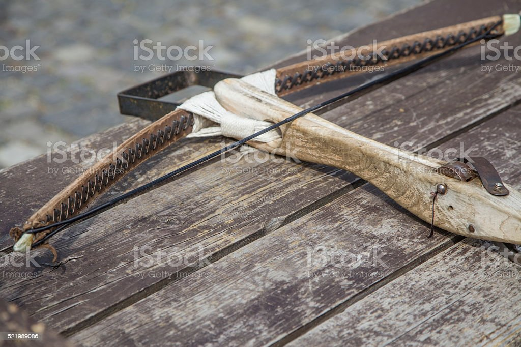 old traditional hand made crossbow stock photo