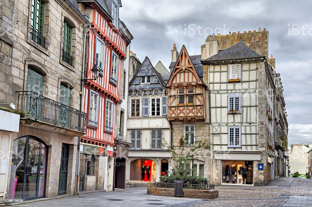 Old traditional houses in the historic part of Quimper stock photo