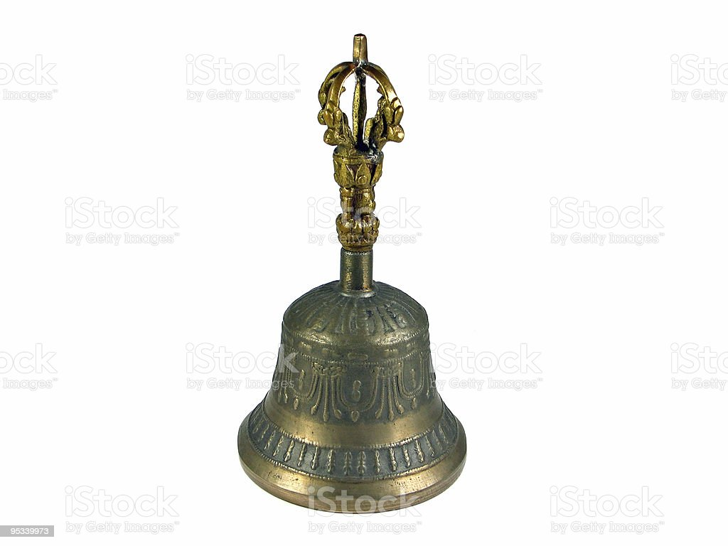 Old traditional metal bell Tibet isolated royalty-free stock photo