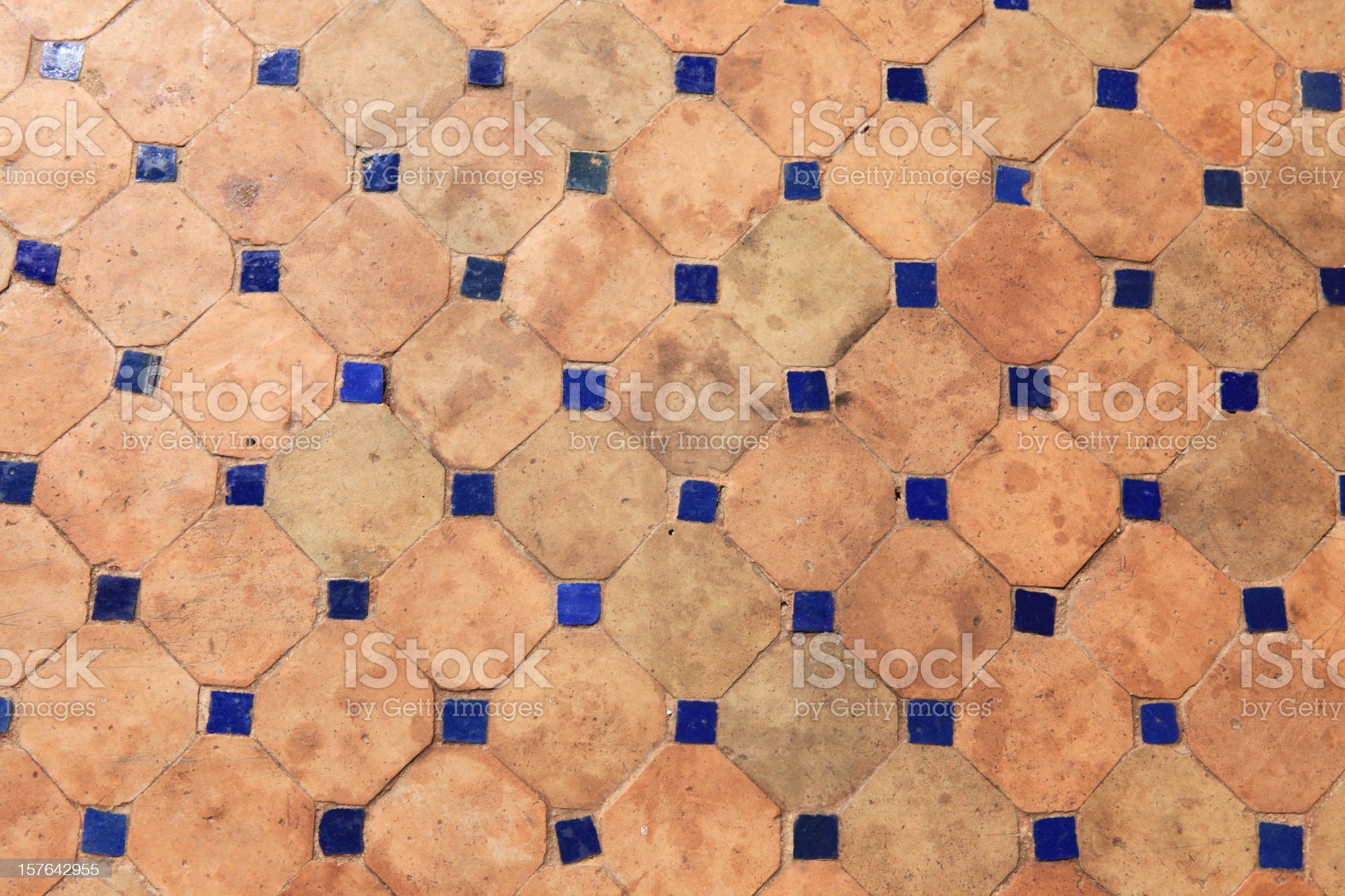 Old Traditional Moroccan Tiles on Floor royalty-free stock photo