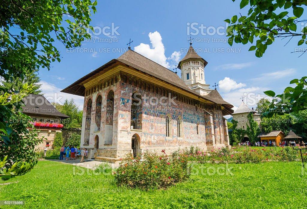 Old traditional Orthodox Humorului Monastery stock photo