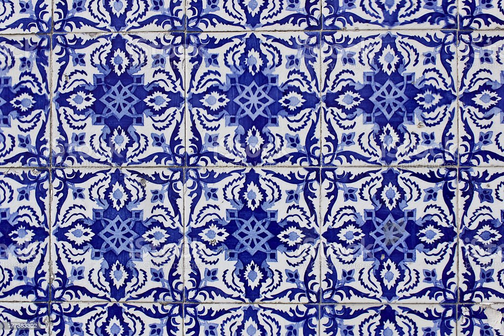 old traditional portuguese azulejo tiles royalty-free stock photo