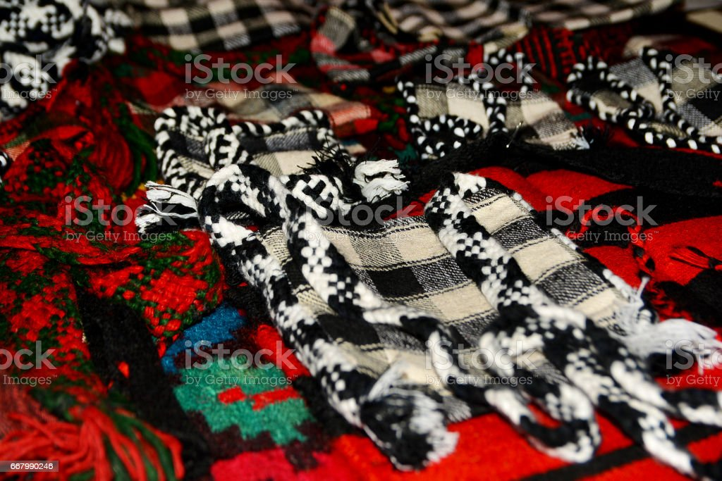 Old traditional romanian wool handmade things stock photo