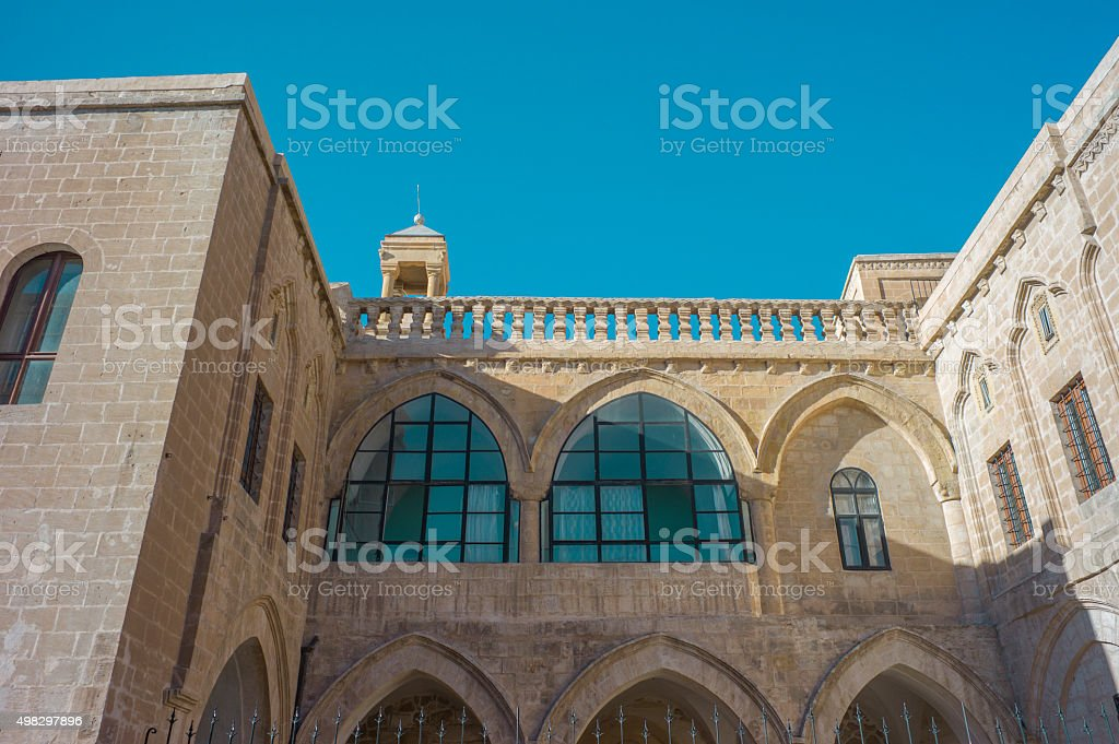 Old traditional stone church detail at middleeastern town mardin turkey stock photo