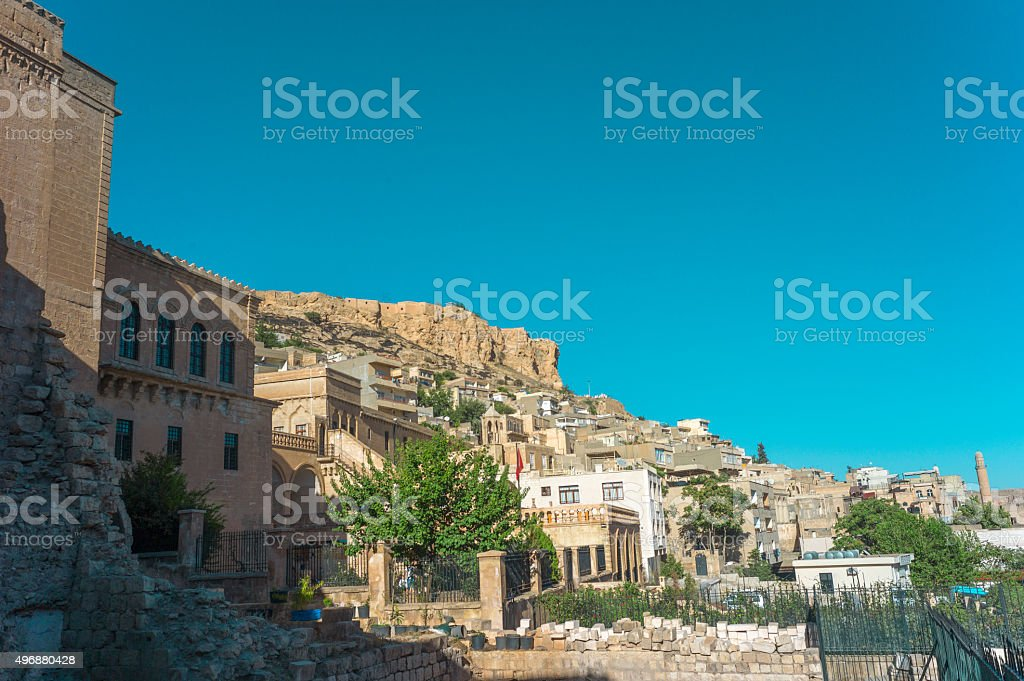 Old traditional stone houses at  middleeastern town mardin turkey stock photo