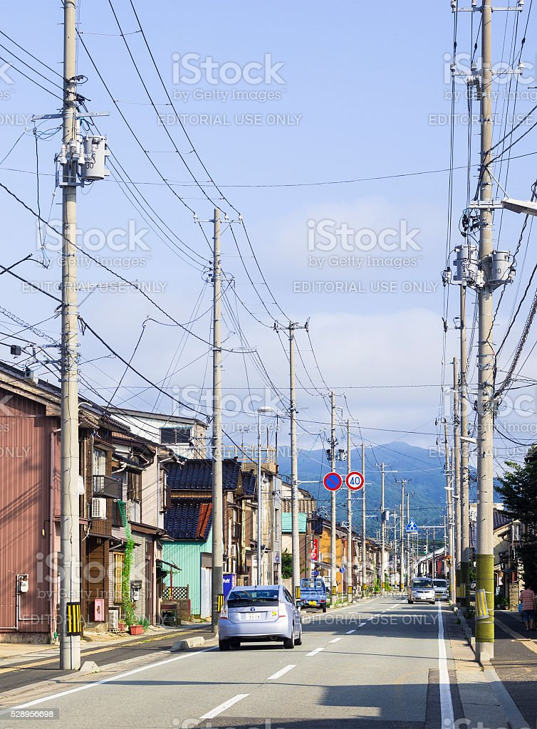 Old traditional street in Ryotsu stock photo