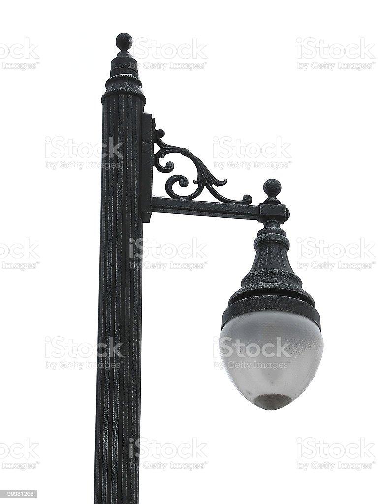 Velho tradicional lâmpada de rua isolado sobre o branco foto de stock royalty-free