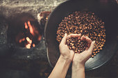 Old Traditional Way of Roasting Raw Coffee Beans on Fire
