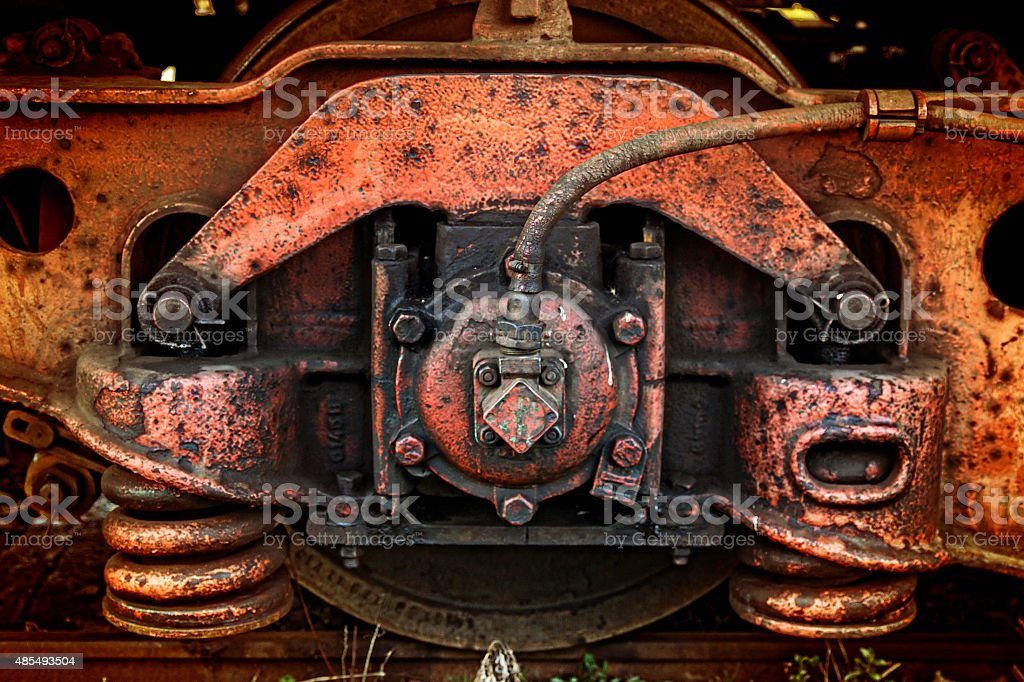 Old train brake and shock absorbers stock photo