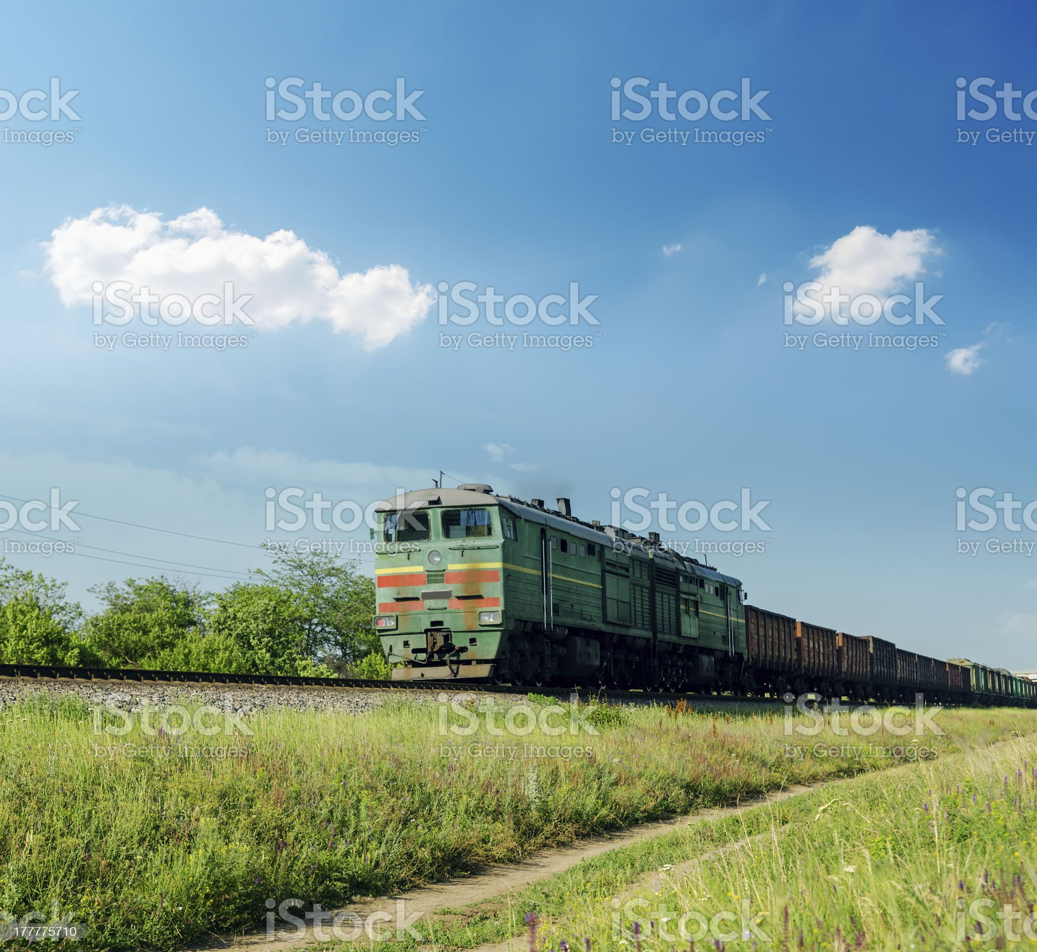 old train in green landscape royalty-free stock photo