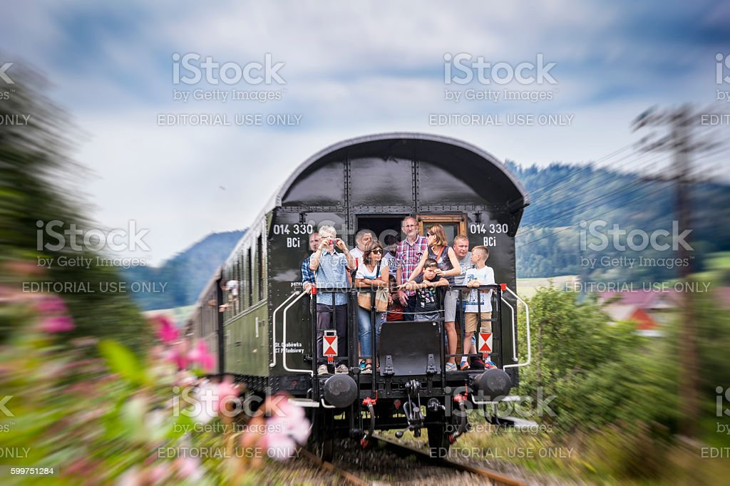 Old train journey through the Beskids Mountains stock photo