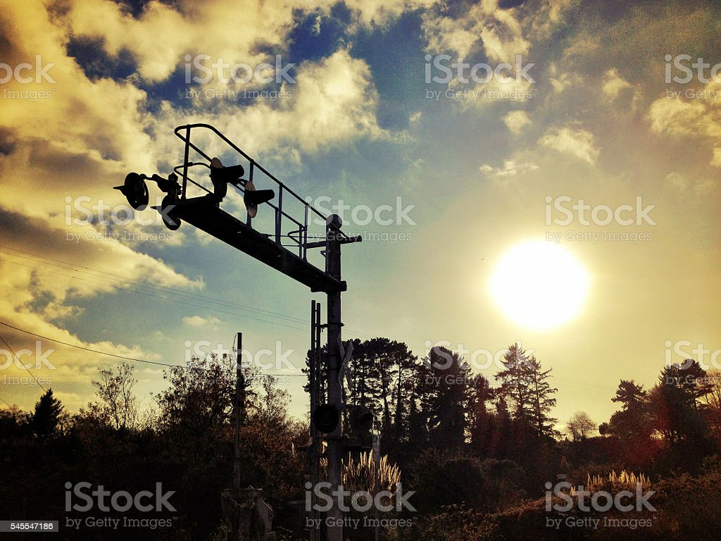 Old train signal stock photo