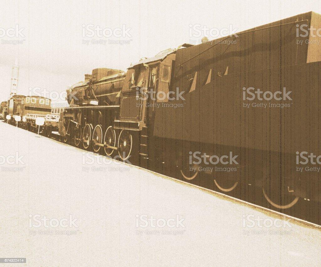 Old train - stylized retro photo 2 stock photo