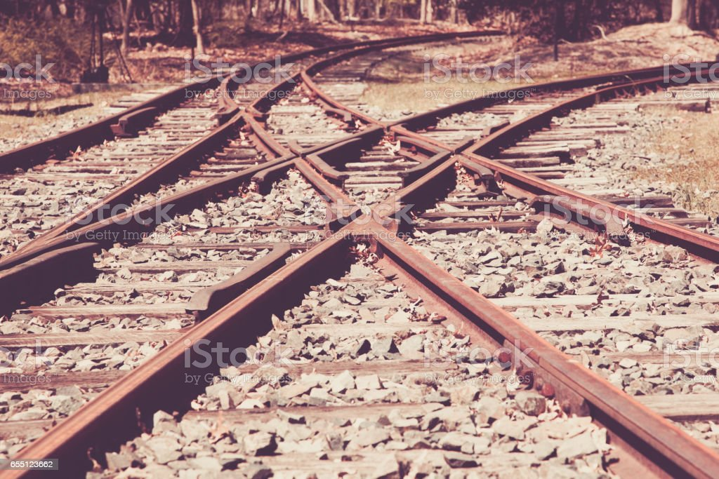 Old Train Track Junction stock photo