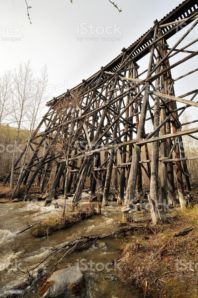 Old train trestle stock photo