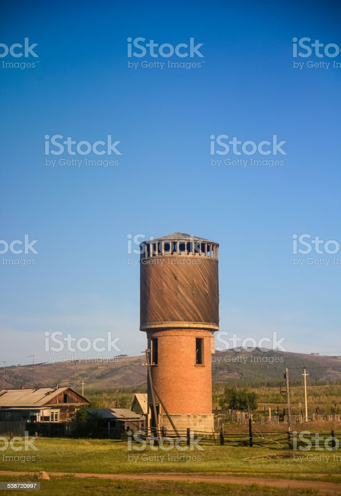 Old train water tower stock photo