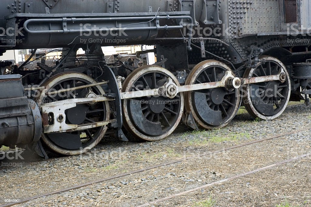 Old train wheels on track royalty-free stock photo