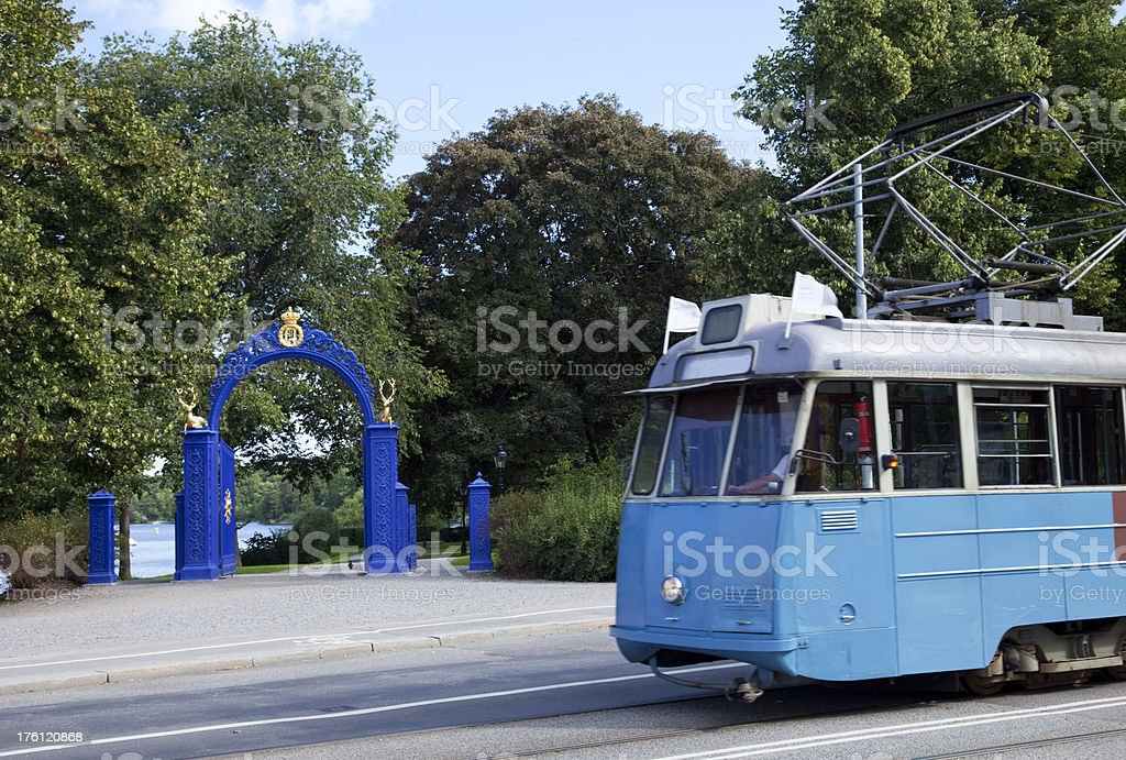 Old tram and entrance to Djurg stock photo