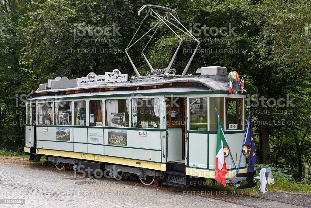 Old tram Biella - Oropa on Piedmont stock photo