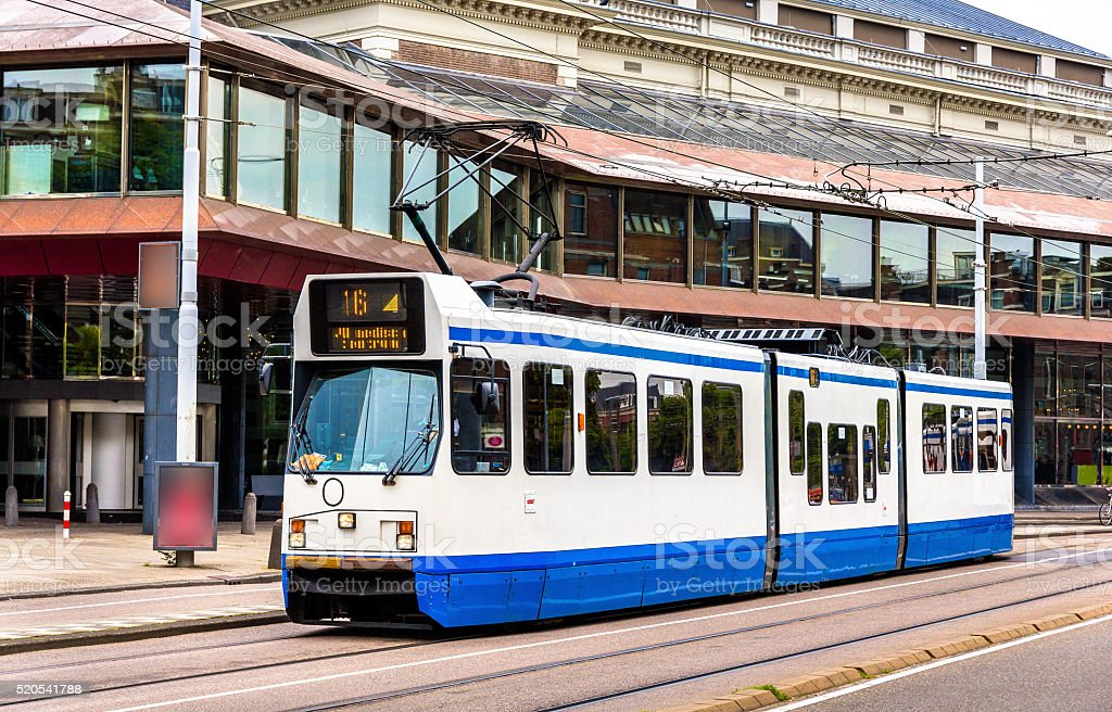 Old tram in Amsterdam stock photo