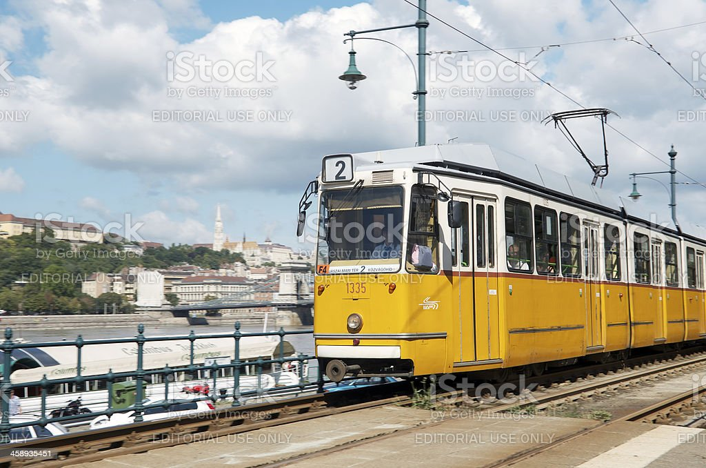 Old tram in Budapest, Hungary stock photo