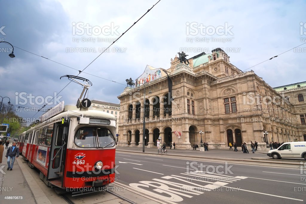 Old tram in front of Vienna Opera House stock photo