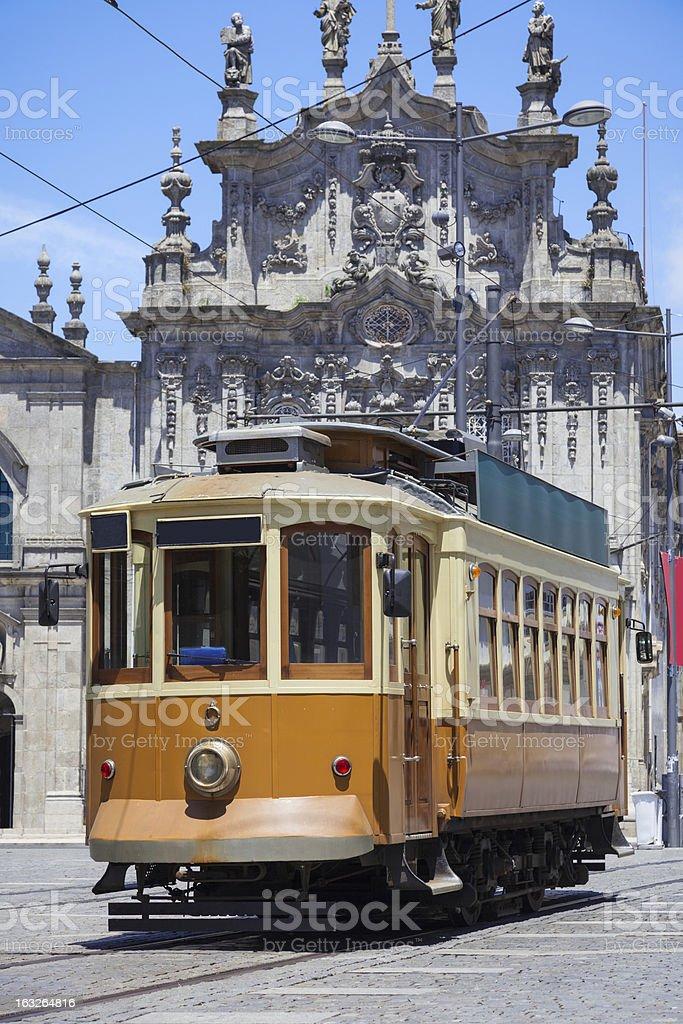 Old tram in Porto street, Portugal royalty-free stock photo