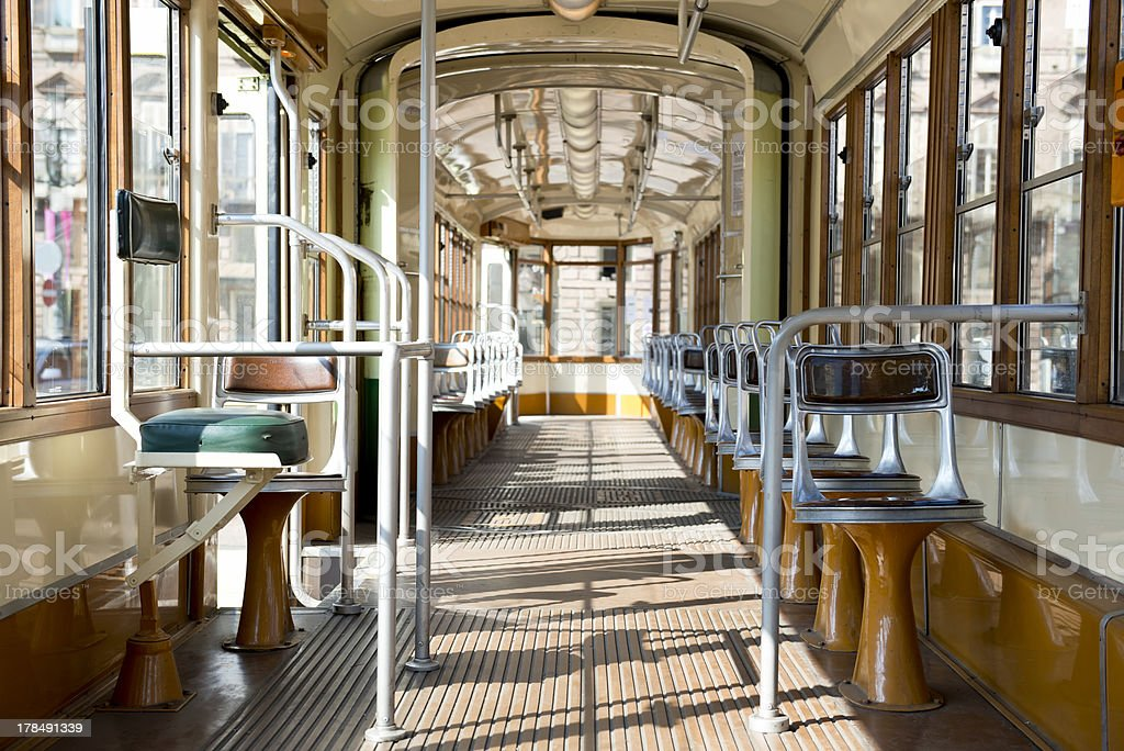 Old tram interior royalty-free stock photo