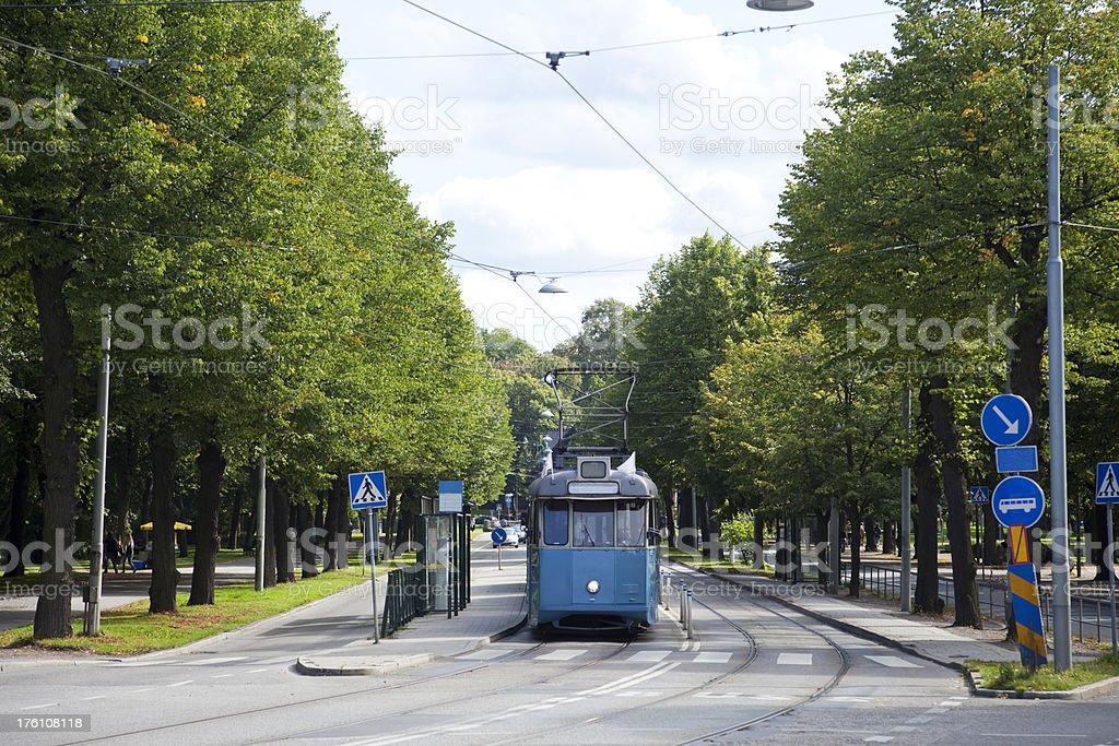 Old tram leaving Djurg stock photo