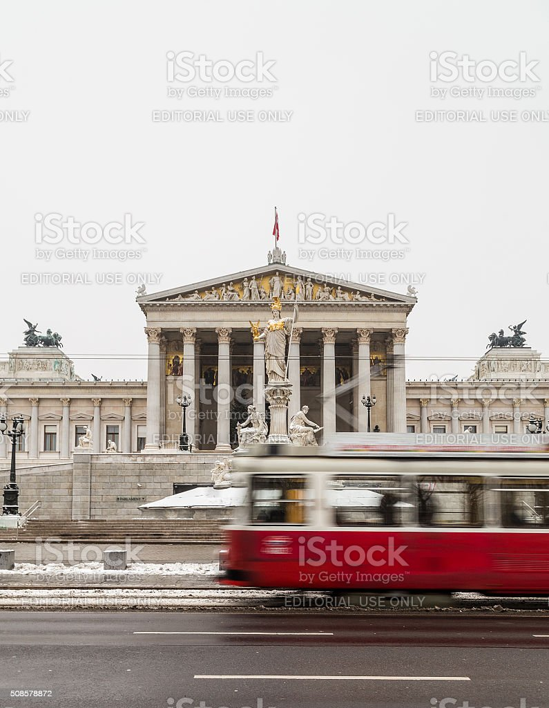 Old Trams and Austrian Parliament stock photo