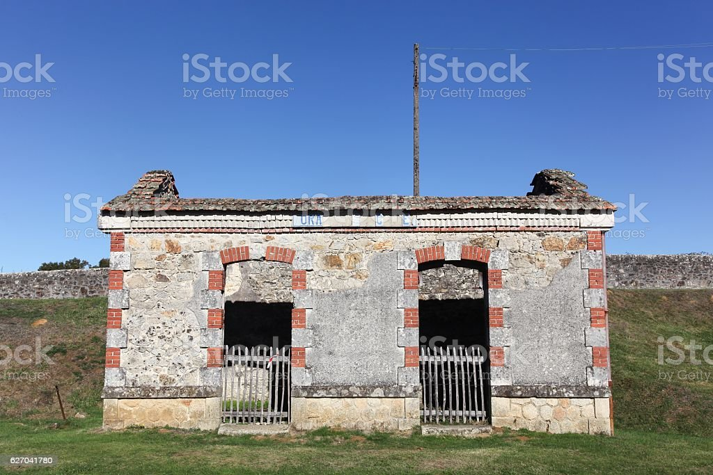 Old tramway station in the village of Oradour sur Glane stock photo