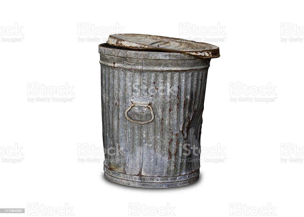 Old Trashcan - Clipping Path stock photo