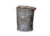 Isolated Old Trashcan