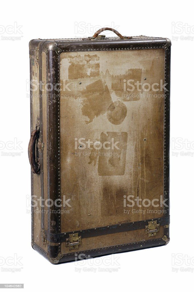 Old Travel Case or Steamer Trunk Vertical royalty-free stock photo