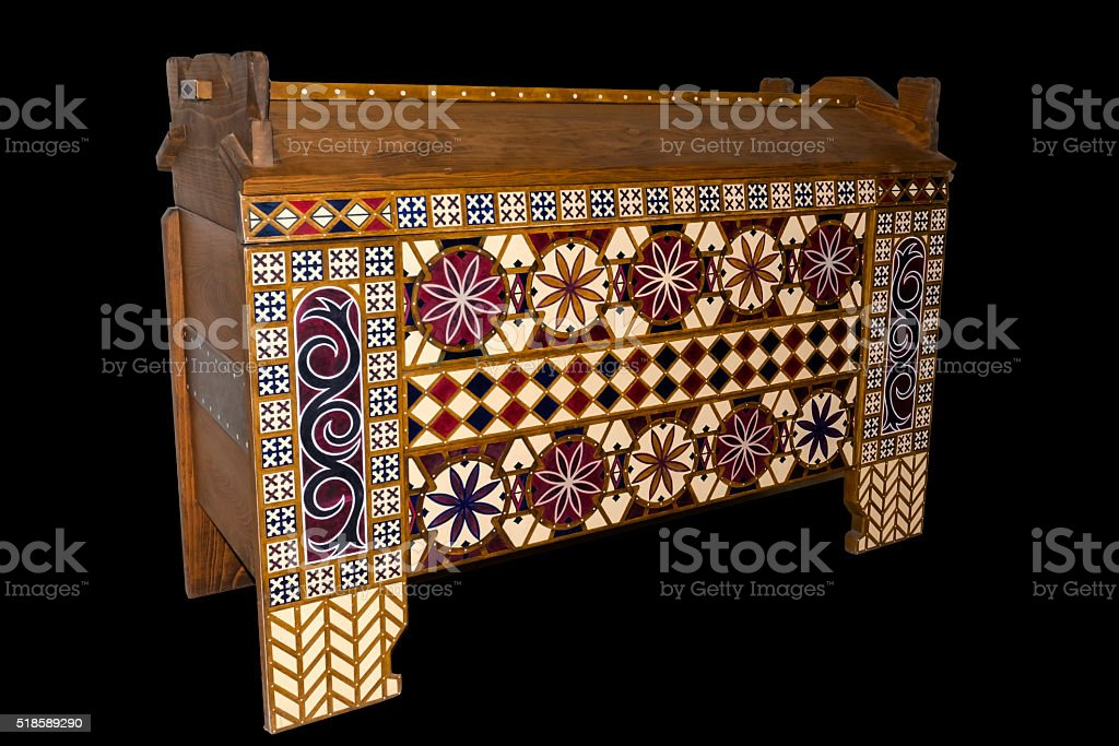 Old traveling chest stock photo