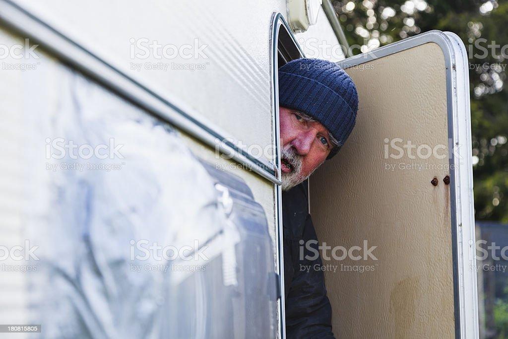Old Traveller At His Caravan Door royalty-free stock photo