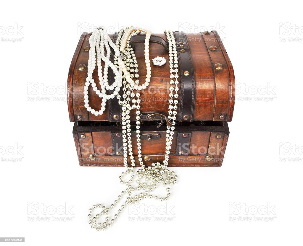 Old Treasure Chest With Jewellery royalty-free stock photo