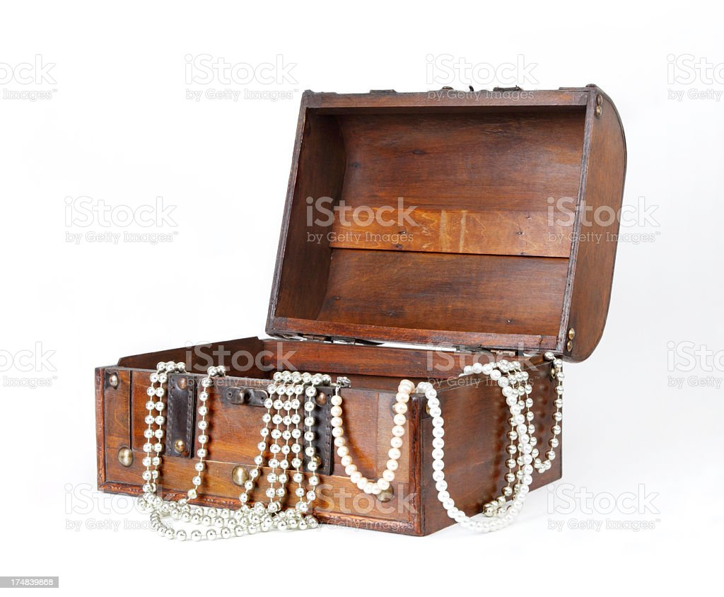 Old Treasure Chest With Jewellery stock photo